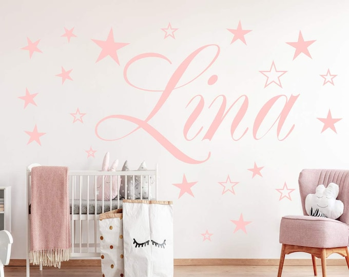 Wall Decal AA120 Names + 20 Stars Personalized Nursery Many Colors Grey Pink Purple Lilac Mint Turquoise.... Wall Sticker