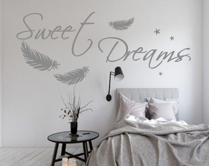 Wall Decal SWEET DREAMS Bedroom AA092 Feathers Star Wall Sticker Vinyl Wall Art