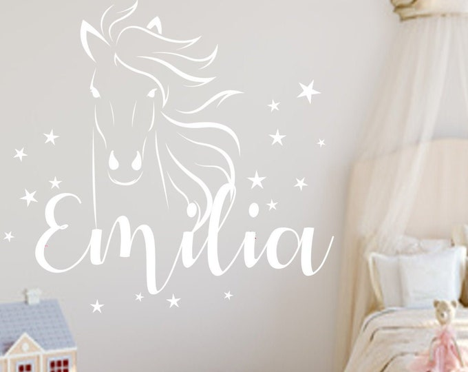 Wall Decal Children's Room Horse + Star Set with Name Sticker Gift Idea for Girls Boy MANY COLORS