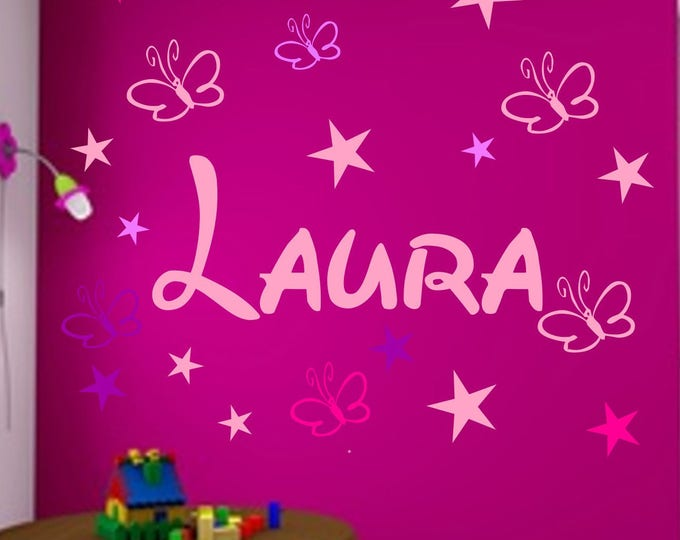 Wall Decals names Children's rooms wish names 19 stars and butterflies personalized-wall-sticker