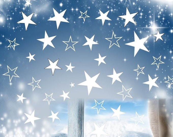 80 star window sticker Christmas self-adhesive window pictures