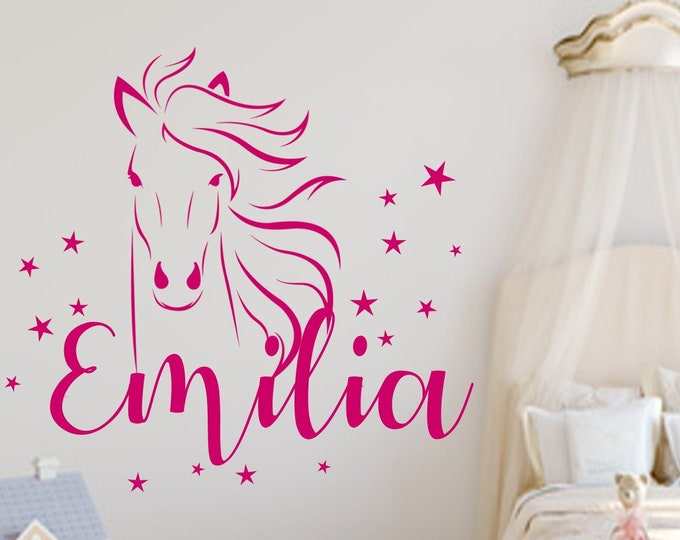 Wall decal nursery horse +star set stickers with name gift idea for girl boy MANY COLORS