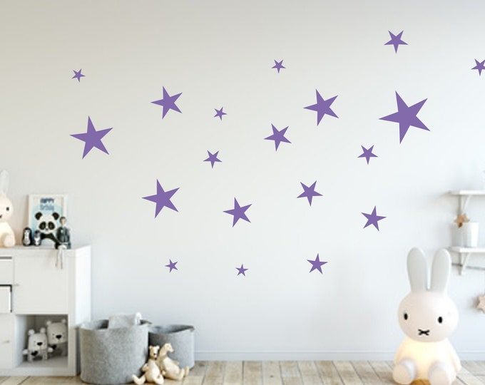 Wall decal 33 stars nursery wall furniture decal girl boys MANY COLORS