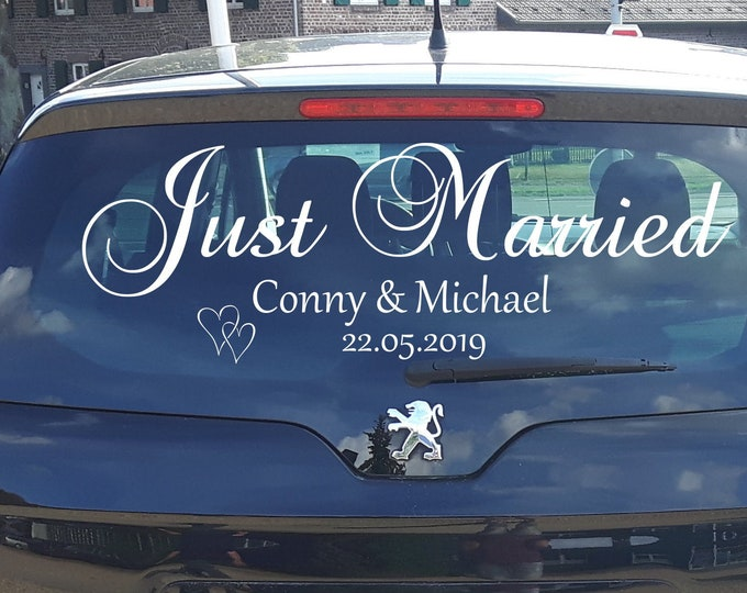 Just Married AA572 ++Car Sticker Sticker Car Wedding with 2 Names and Date Wedding Couple