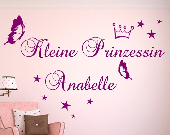 Wall Decal Little Princess... with name nursery baby wish girl room girl tattoo saying crown butterfly stars