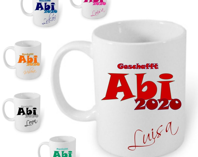 Gift Abitur school graduation 2020 cup personalized name girl boys A-level gift