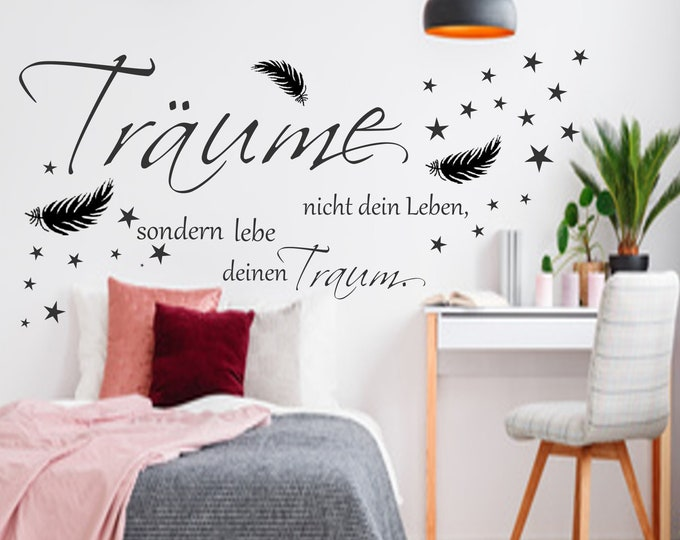 Wall Decal AA 568 Wall Sticker Wall Tattoo ++ Don't Dream Your Life but Live Your Dream Saying Living Room Bedroom