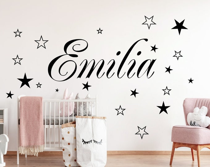 Wall decal nursery AA120 with name sticker door sticker personalized 20 stars child girl boy baby room MANY COLORS