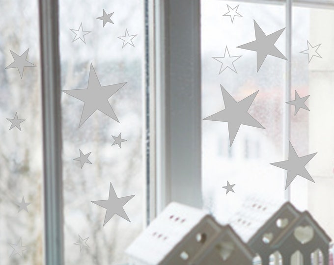 80 Star Sticker Christmas Window Pictures Self Adhesive