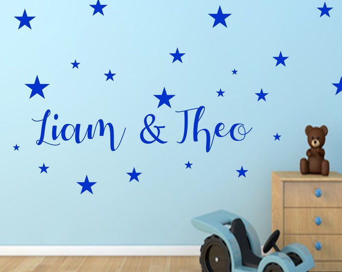Wall decal siblings twin stickers with two names + 20 stars nursery door girl boys personalized baby room