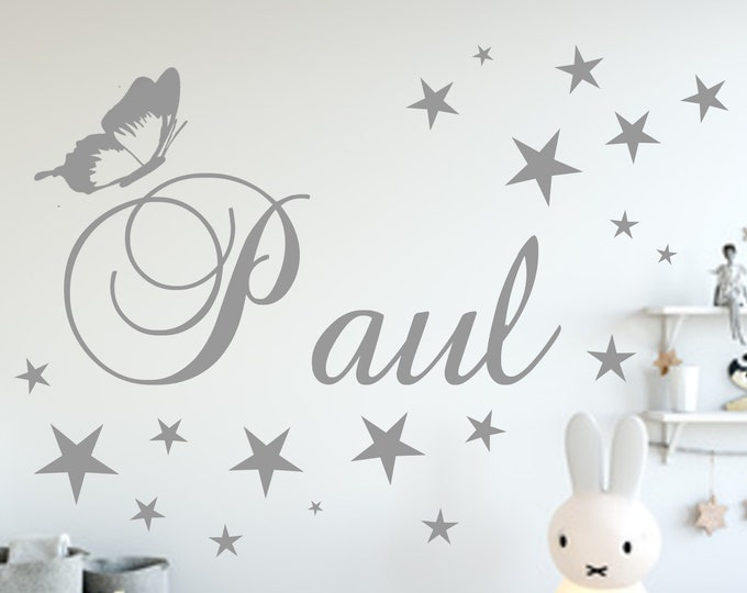 Wall Decal Name Sticker Nursery +Butterfly 19 Stars Set Girl Boy MANY COLORS