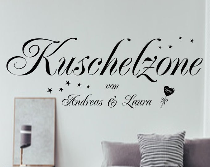 Wall decal cuddly zone with name stars heart wall sticker AA228 saying bedroom