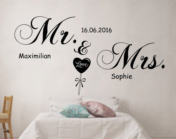 """Bedroom Wall Decal """"Mr. & Mrs."""" + Two Names Wall Decals Wall Tattoo"""