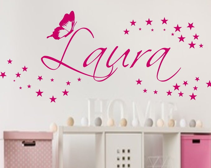 Wall Tattoo with Name and 40 Stars+ Butterfly Wall Sticker Nursery Baby Room Girl Boys