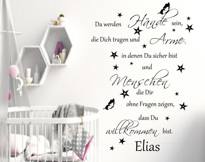 Wall tattoo AA162 baby room saying with NAMES There will be hands that carry you... Nursery Girl Boys Stars