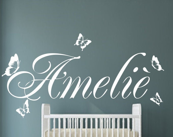 Wall tattoo door sign AA118 nursery sticker with name boys girls