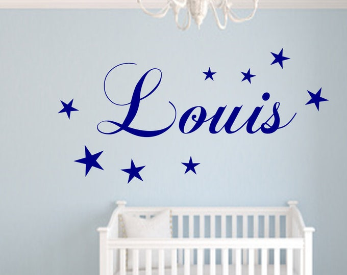 Stickers with name wall decal nursery door girl boys personalized stars