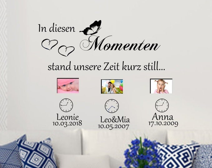 Wall decal In these MOMENTEN... Name Date Wall Sticker Saying Personalized Living Room Hallway...