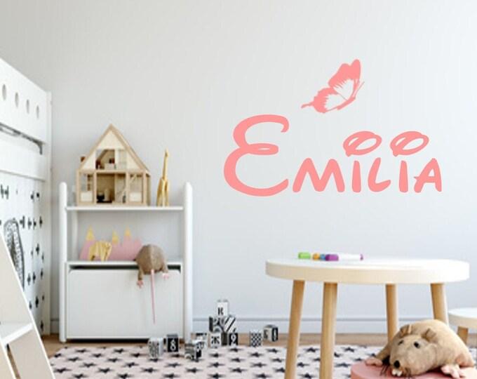 Wall decal nursery wish name butterfly sticker boys girl