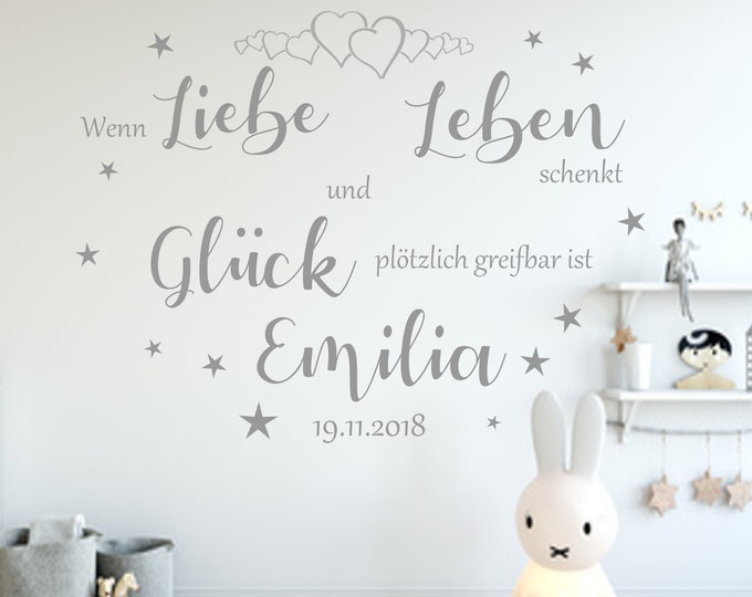 Wall Decal AA813 Nursery - When From LOVE GIVES LIFE and Happiness ... . . . . . . . . . . . . . . . . . . . . . . . . . . . . . . . . . . . . . . . . . . . . . . . . . . . . . . . . . . . . . . . . .