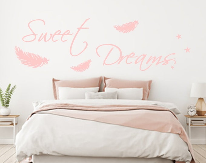 Wall Decal Wall Decal Sweet Dreams AA092 Stars Feathers Sticker Bedroom