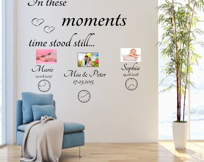 AA340 Family Wall Tattoo Creative Set In these moments time stood still... with name and date and watches stickers
