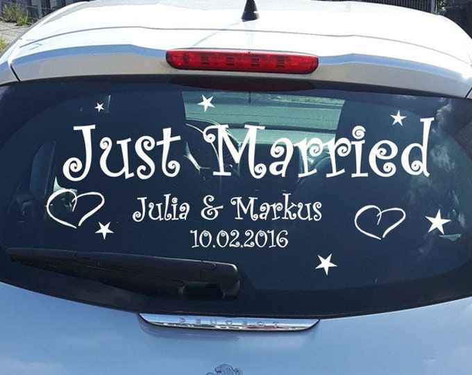 Just married car sticker wedding by name