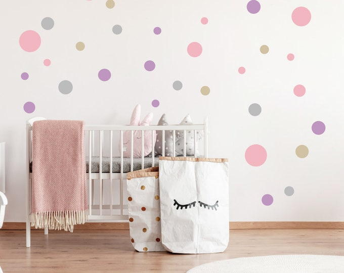 Wall Tattoo 60 Points Circles DotS Sticker Nursery Girl, Boy Wall Stickers