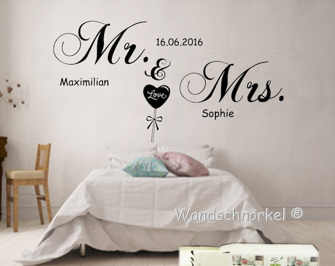 """Wall Decal Wall Decal Bedroom """"Mr. & Mrs."""" +Name Wall Stickers Personalized Makeup"""