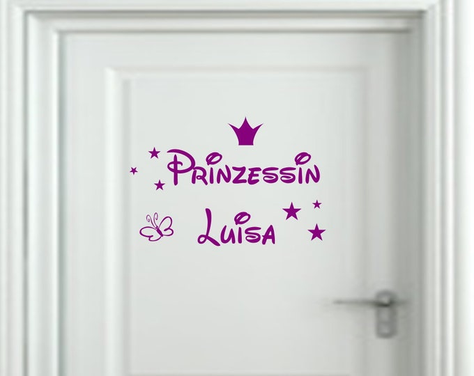 Wall decal nursery door sticker with name princess crown girl room