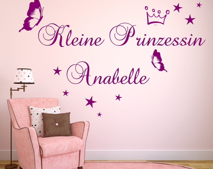 Wall decal wall decal princess + name nursery crown girl butterfly and stars