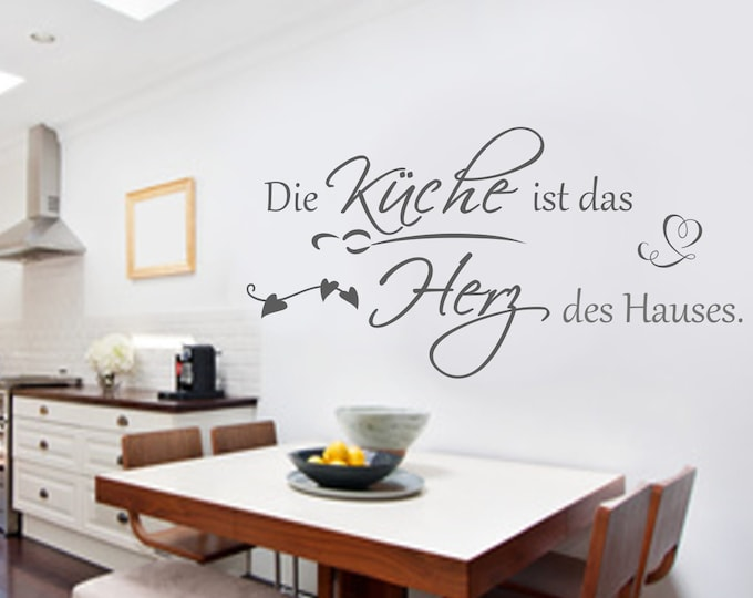 Wall decal wall saying kitchen slogan+++The kitchen is the heart of the house Wall Tattoo