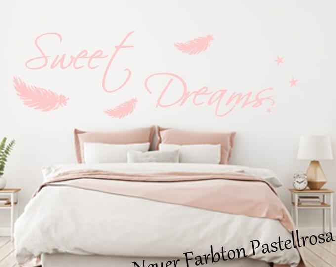 Wall tattoo bedroom AA092 SWEET DREAMS feathers star wall sticker vinyl wall art