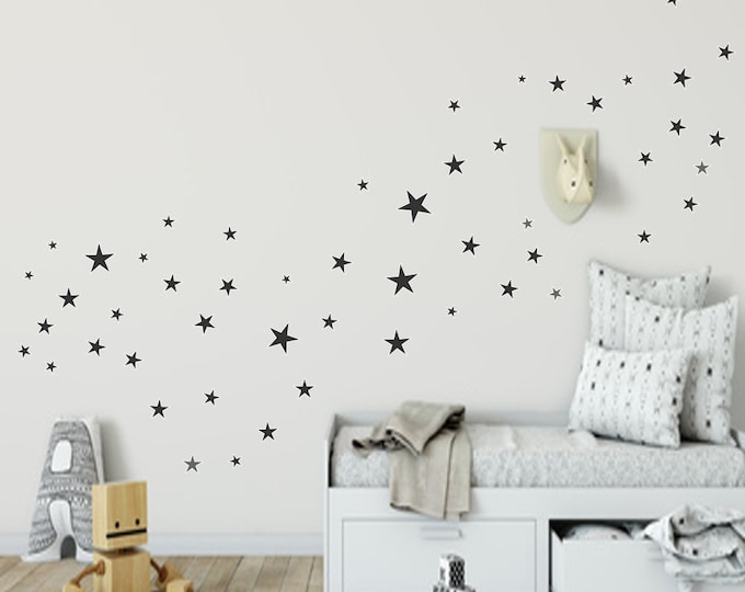 Wall Decal Decal 84 Star Nursery Girl Boys Grey Pink Pastel Purple & Many More Colors