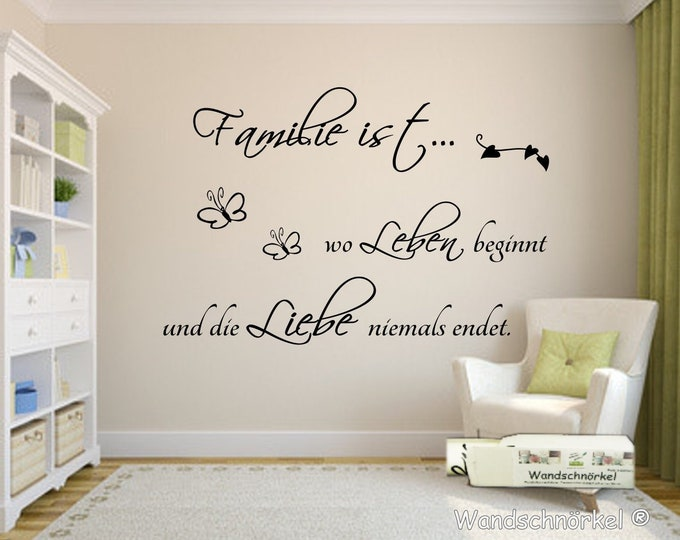 Wall decal wall sticker family is where living begins... Saying living room hallway