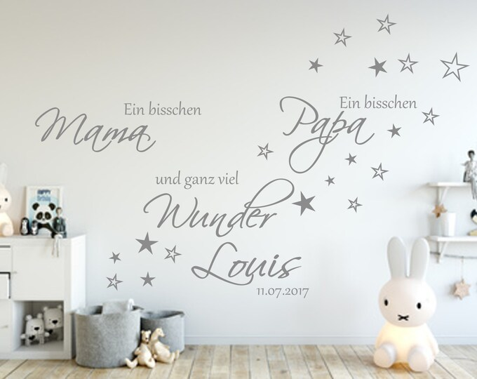 Baby Wall Decal A bit MAMA a bit PAPA... Saying AA139 Nursery Baby Room Girl Boys with Name and Date