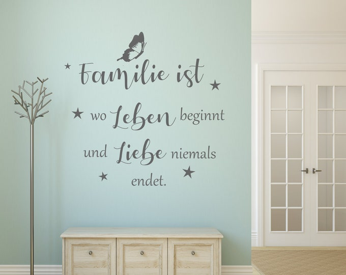 Family Wall Decal +++Family is Where Life Begins...++ Saying Wall Sticker AA633Living Room Hallway Bedroom