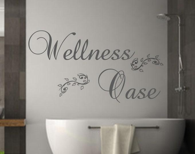 Wall decal wellness oasis bathroom decal wall sticker bath saying wall shower sauna foil sticker