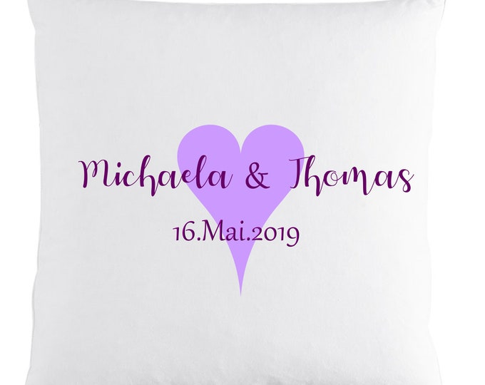 Partner pillow with name and date gift for loved-up couple's wedding