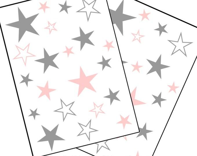 Wall decal 40 stars wall decal wall stickers grey/pastel pink nursery girl boys