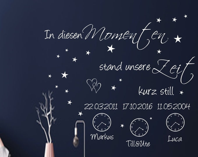 Family Wall Decal Wall Eye Glue DIY Creative Set with Name and Date and Watches Stickers In These MOMENTS Our Time Stood Still For A Moment