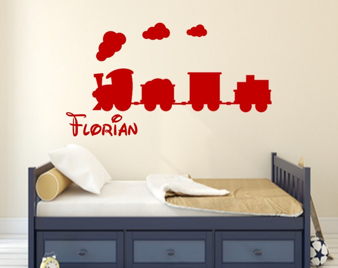 Wall decal railway train with wish name personalized nursery boy girl door wall furniture bed sticker