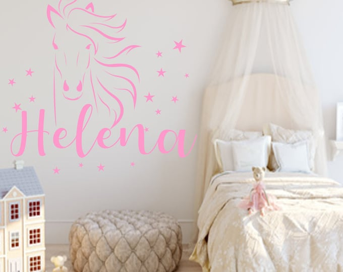Girls Wall Decal Horse +Star Set Nursery with Name Sticker Girl Boy MANY COLORS