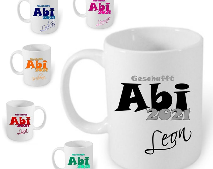 Gift ABITUR 2021 cup personalized name Abi gift