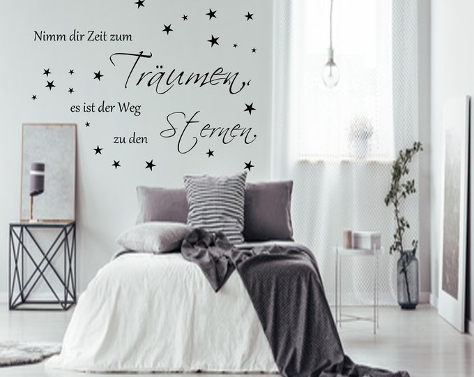 Wall decal saying ++Take time to dream it's the way to the stars. Bedroom Living Room Wall Stickers Stars