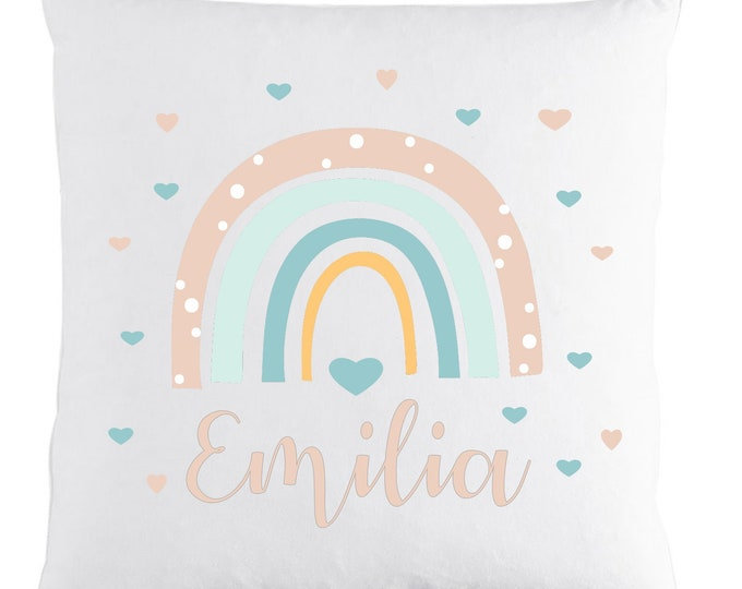Pillow With Name Rainbow Hearts Baby Gift Pillow Baby Kids Gift Birthday Girls Boys Personalized