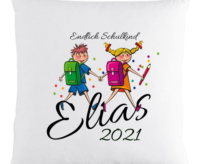 Gift for schooling finally SCHULKIND 2021 pillow with name individually printed first school day school bag girls boys