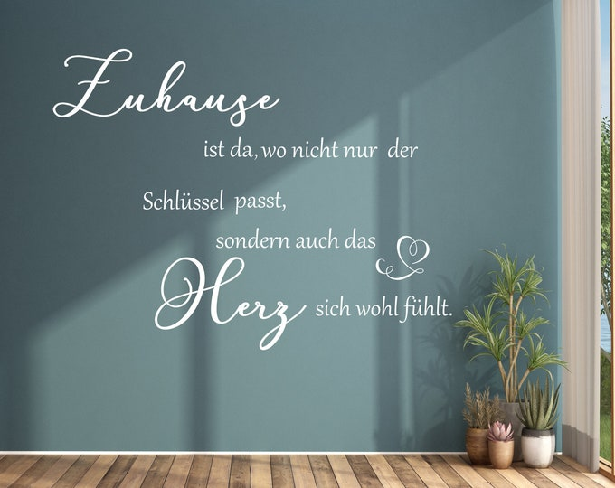 Wall decal AA921 saying Home is there, where not only the key fits... Wall Decors Wall Stickers