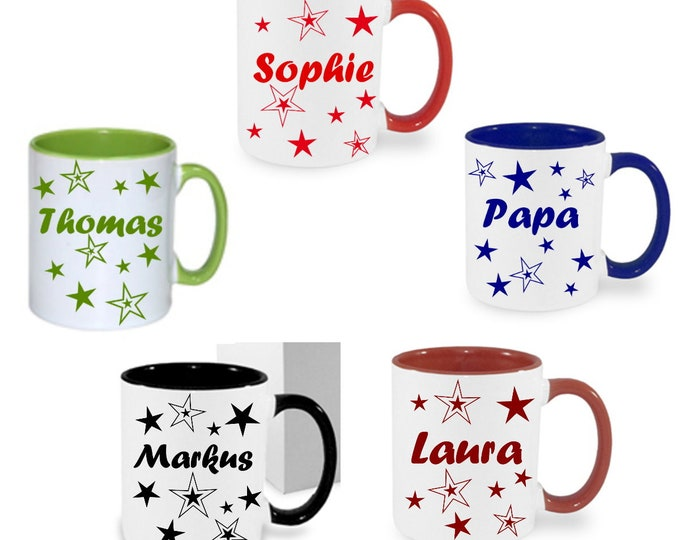Cup with name NAMENTASSE stars personalized Christmas gift birthday company