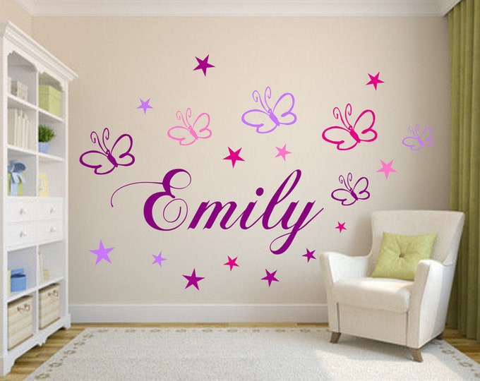 Wall decal name with butterflies and stars nursery girl boys purple set or blue set name sticker door wall